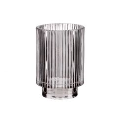 Windlicht Zylinder, Riffel, grau, 13 cm