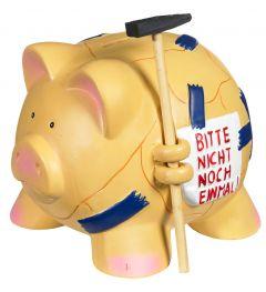 Sparschwein mit Hammer, blau