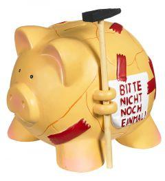 Sparschwein mit Hammer, rot