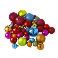 36er Set Kunststoff-Weihnachtskugeln, bunt