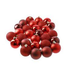 34er Set Weihnachtskugeln, rot