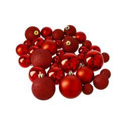 36er Set Weihnachtskugeln, rot