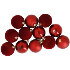 12er Set Weihnachtskugel-Mix 6 cm, rot