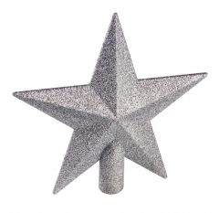 Baumspitze Stern Glitter, silber, 20 cm