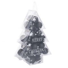 34er Set Weihnachtskugeln, schwarz/glitter