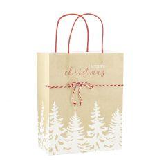 Geschenktüte Kordel, Bäume, 26.5 cm