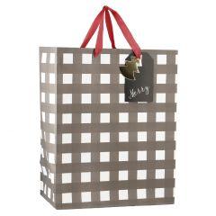 Geschenktüte Karo, schwarz/weiß, 16 cm