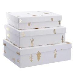 3er Set Geschenkkarton Prägung, Baum/weiß