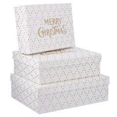 3er Set Geschenkkarton Prägung, Merry Xmas/weiß