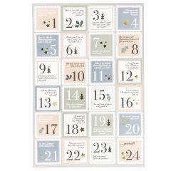 Adventskalender-Sticker, 24 Stk, Briefmarke, blau/mintgrün