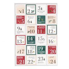 Adventskalender-Sticker, 24 Stk, Briefmarke, rot/grün