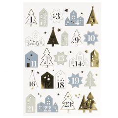 Adventskalender-Sticker, 24 Stk, Haus, blau/mintgrün