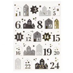 Adventskalender-Sticker, 24 Stk, Haus, gold/schwarz