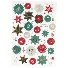 Adventskalender-Sticker, 24 Stk, Sterne, rot/grün