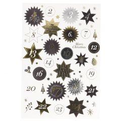 Adventskalender-Sticker, 24 Stk, Sterne, gold/schwarz