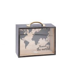 Spardose Koffer, Travel the World, 20 cm
