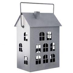 Laterne Haus, grau, 36 cm