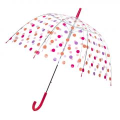 Regenschirm Transparent, Dots, lila/pink, 82 cm