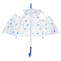 Regenschirm Transparent, Dots, blau, 82 cm