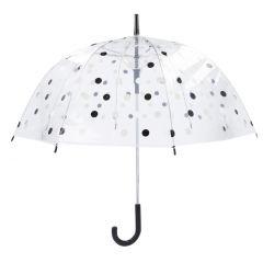 Regenschirm Transparent, Dots, schwarz, 82 cm