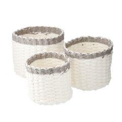 3er Set Papierkorb, rund, weiß/grau