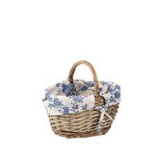 Einkaufskorb Nostalgie, blau/creme, 28 cm