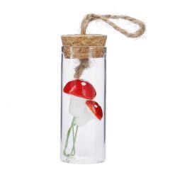 Deko-Flasche mit Korken, Mini, Pilze