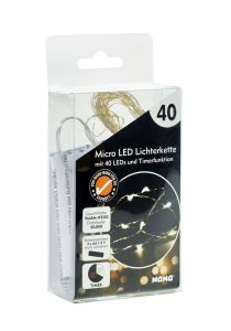 LED-Lichterkette Mini mit Timer, 40er