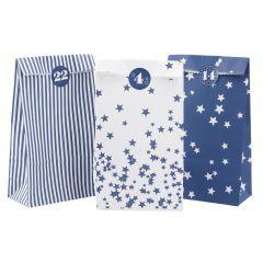 Adventskalender-Set, Tüten/Sticker, dunkelblau