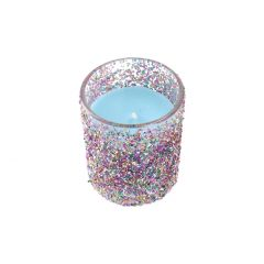 Kerze im Glas, Orient, hellblau, 5 x 6 cm