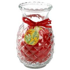 Kerze im Glas, Ananas rot 19 cm