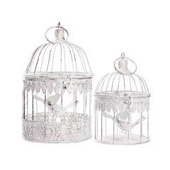 2er Set Vogelkäfig Romantik, weiß/antik