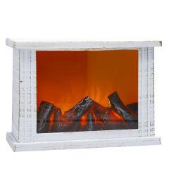 LED-Kamin, weiß-gold gewischt, 20 x 30 cm