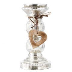 Kerzenständer Herz, silber, 23 cm