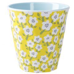 Becher Design, Blumen gelb, 9 cm