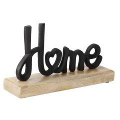 Schriftzug auf Holzfuß, Home, schwarz