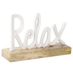Schriftzug Relax, weiß
