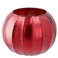 Windlicht Mala, rot/matt, 13 x 11 cm