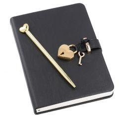 Tagebuch mit Stift, schwarz